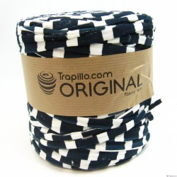 Tissu Recycle  Estampado Azul Marino y Blanco 6725