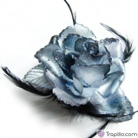 Coletero flor azul y plata