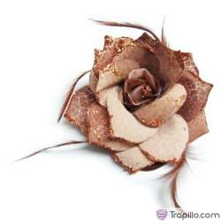 Coletero flor marrón y dorada