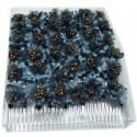 Caja con doce peinetas en tonos azules