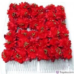 Caja con doce peinetas en color rojo