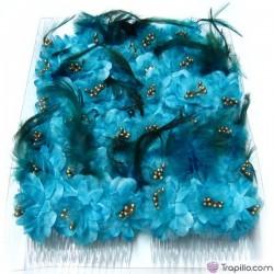 Caja con doce peinetas con flores y plumas color azul