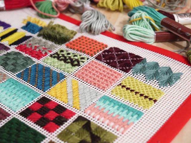 Puntos en rejilla para tapices o alfombras de trapillo - Telas para alfombras ...