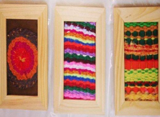 Cuadros de tela reciclada y tapices tejidos el blog de - Ideas para hacer cuadros con telas ...