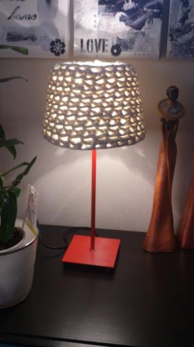 Pantallas tejidas para l mparas de mesa o pie el blog de - Como decorar tulipas de lamparas ...