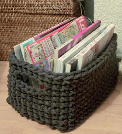 Paso a paso de 5 cestos de trapillo diferentes el blog - Cesto de trapillo para el bano ...