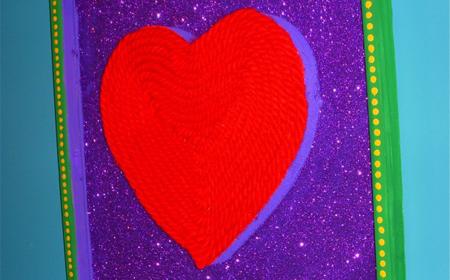 Cuadro de corazón de trapillo