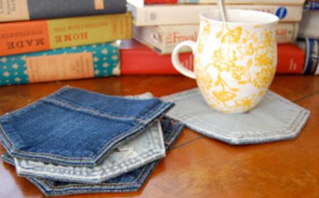 Reciclaje posavasos con bolsillos de jean