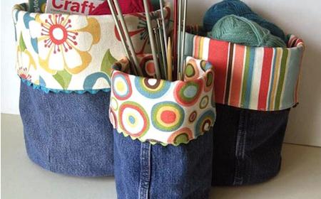 Reciclaje recipientes decorados con jeans