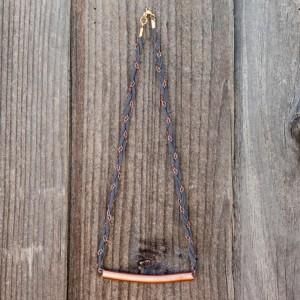 Collar de trapillo trenzado con cadenas y cobre_1