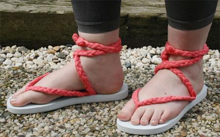 Sandalias con trenzas de trapillo