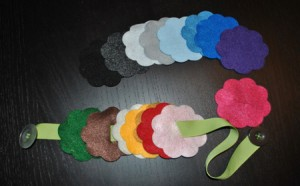 Juguetes de tela cinta de flores de fieltro