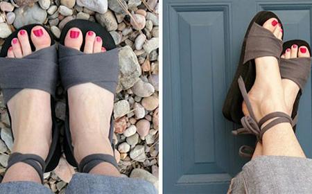 Sandalias con tela reciclada