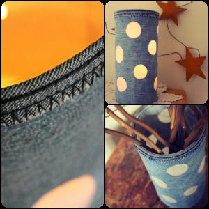 Envase decorado con jean