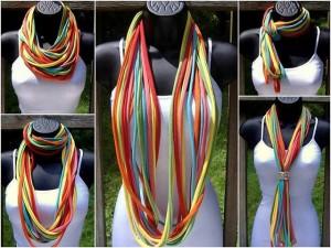 Modos de usar una bufanda infinita de trapillo