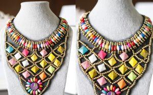 retro style hand braided beaded statement bib necklace wholesale 2