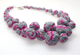 cluster fabric bead necklace