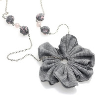 fabric flower pendant necklace