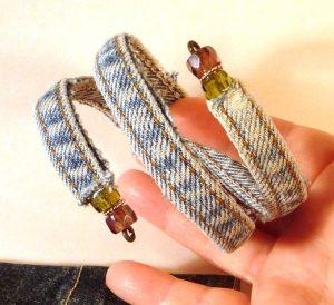 Haz una pulsera shabby chic con la costura del jean